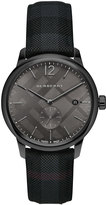 Burberry 40mm Classic Round Watch with Leather Strap, Black