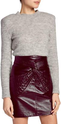 Isabel Marant Structured-Shoulder Wool Crewneck Sweater