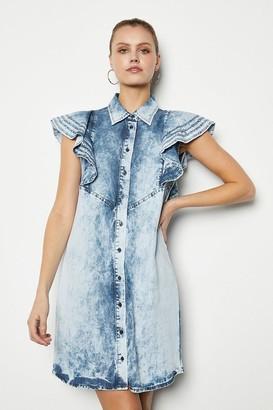 Karen Millen Soft Acid Wash Frill Sleeve Dress