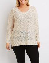 Charlotte Russe Plus Size Slub Knit Scoop Neck Sweater