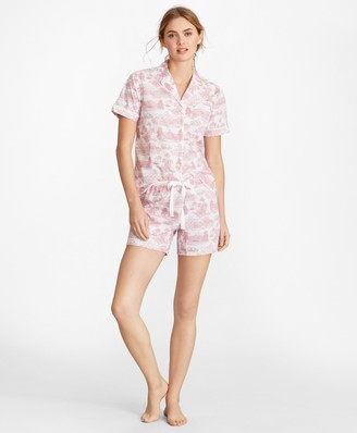 Brooks Brothers Toile Supima Cotton Poplin Short Pajama Set