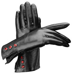 Swarovski Ladies Eaton Gloves with Buttons Black Nappa with Ruby Crystal Buttons made with ELEMENTS