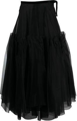 Brock Collection Ruffled Silk Maxi Skirt
