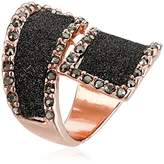 GUESS Glitter and Stone Bypass Wrap Rose Gold Ring, Size 7