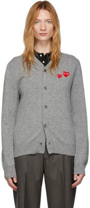 Comme des Garcons Grey Wool Mens Double Heart V-Neck Cardigan