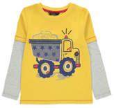 George Appliqué Truck Long Sleeve Mock Layer Top