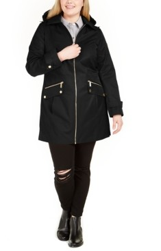 Michael Kors Michael Plus Size Hooded Water-Resistant Raincoat