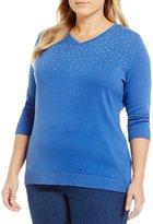 Allison Daley Plus Embellished V-Neck 3/4 Sleeve Pullover