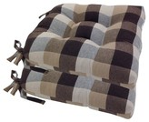 Essentials Chocolate Buffalo Check Woven Plaid Chair Pads With Tiebacks (Set Of 4)