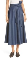 Tibi Women's Lightweight Denim Wrap Midi Skirt