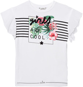GUESS White Floral Tee with Sequin Detail