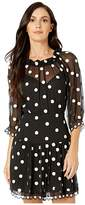 Rebecca Taylor Long Sleeve Dot Embroidered Dress (Black Combo) Women's Clothing