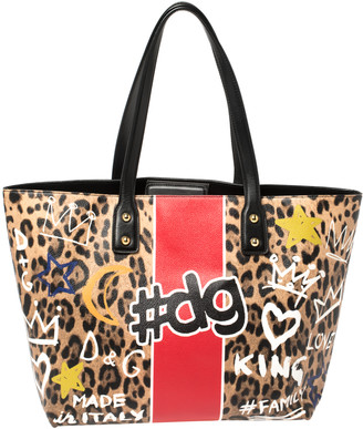 Dolce & Gabbana Multicolor Graffiti Print Coated Canvas and Leather Beatrice Shopper Tote