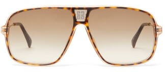 Givenchy Logo-grid Aviator Acetate And Metal Sunglasses - Brown Multi
