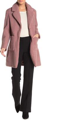 French Connection Faux Shearling Teddy Notch Collar Coat