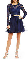 Sequin Hearts Illusion Long-Sleeve Lace Top Two-Piece Fit-and-Flare Party Dress