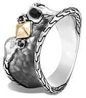 John Hardy Chain Blackened Ring, Black Sapphire, Spinel