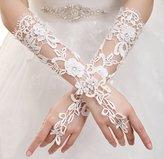 Eyekepper Fingerless Wedding Lace Floral Rhinestone Bridal Gloves Ivory