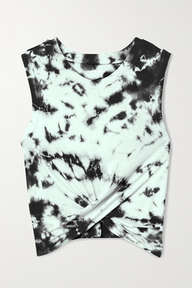 YEAR OF OURS Anne Marie Cropped Knotted Tie-dyed Cotton-jersey Tank - Black
