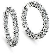Prong Set Hoop Diamond Earrings in 18k White Gold (3 1/2 ct. tw.)