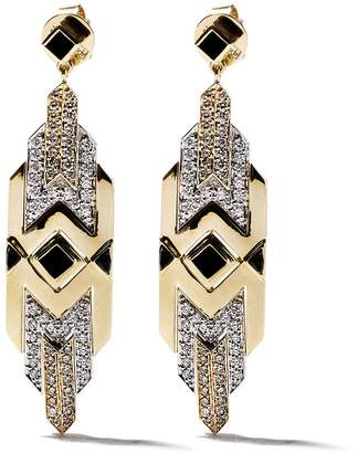 Fairfax & Roberts 18kt white and 18kt yellow gold Art Deco diamond and onyx drop earrings