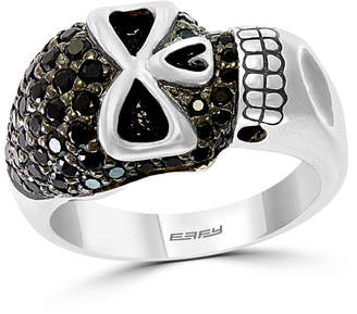 Effy Men Black Spinel (1 3/4 ct. t.w) Skull Ring in Sterling Silver