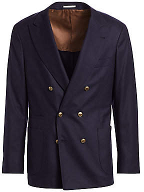 Brunello Cucinelli Men's Double-Breasted Wool-Blend Peak Blazer