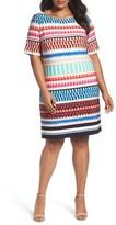 Eliza J Plus Size Women's Stripe Jersey Shift Dress