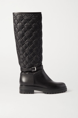 Gianvito Rossi Buckled Leather And Quilted Shell Knee Boots - Black
