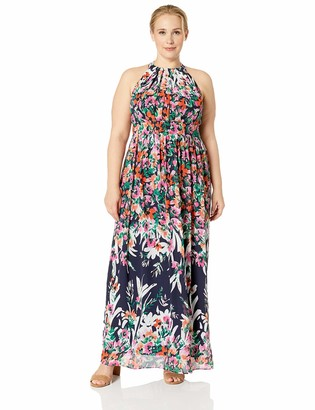 Eliza J Women's Size Patterned Halter Maxi Dress
