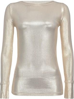 Pinko Long Sleeve Metallic Knit Sweatshirt