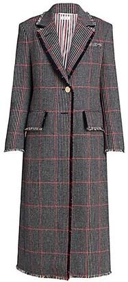 Thom Browne Fringe-Trim Plaid Wool Jacket