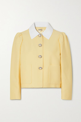 Miu Miu Cropped Embellished Cady Blazer - Off-white