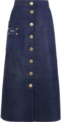 Fendi suede A-line skirt