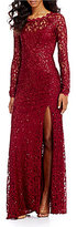My Michelle Sequin Hearts Long Sleeve Lace Long Dress