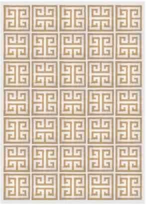 Jonathan Adler Camel Greek Key Border Reversible Peruvian Flat Weave Rug