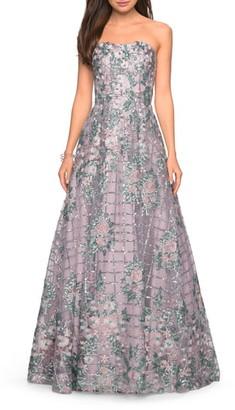 La Femme Strapless Sequin Evening Gown