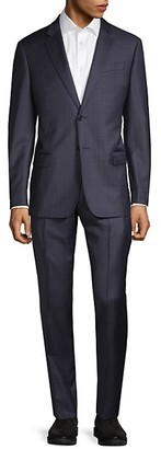Armani Collezioni Super 130's Classic-Fit Plaid Virgin-Wool Suit