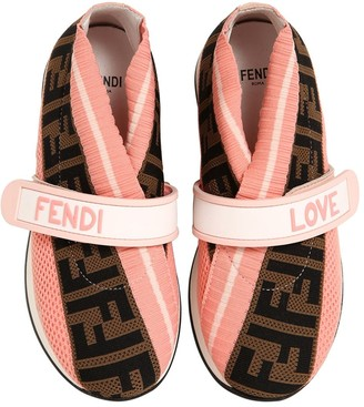Fendi Logo Jacquard Knit Slip-on Sneakers