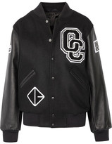 Opening Ceremony Appliquéd Wool-blend Twill And Textured-leather Bomber Jacket
