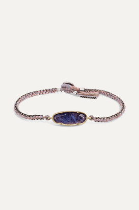 Brooke Gregson 18-karat Gold, Sterling Silver, Silk And Tanzanite Bracelet - one size