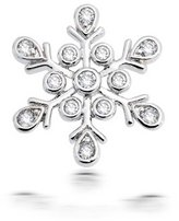 Bling Jewelry .925 Sterling Silver Round Bezel CZ Snowflake Pendant