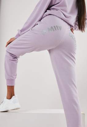 Missguided Lilac Graphic Back Slim Leg Joggers