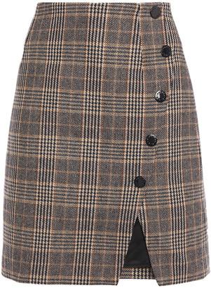 Sandro Prince Of Wales Checked Jacquard Mini Wrap Skirt