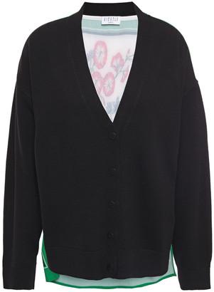 Claudie Pierlot Floral-print Crepe-paneled Wool-blend Cardigan