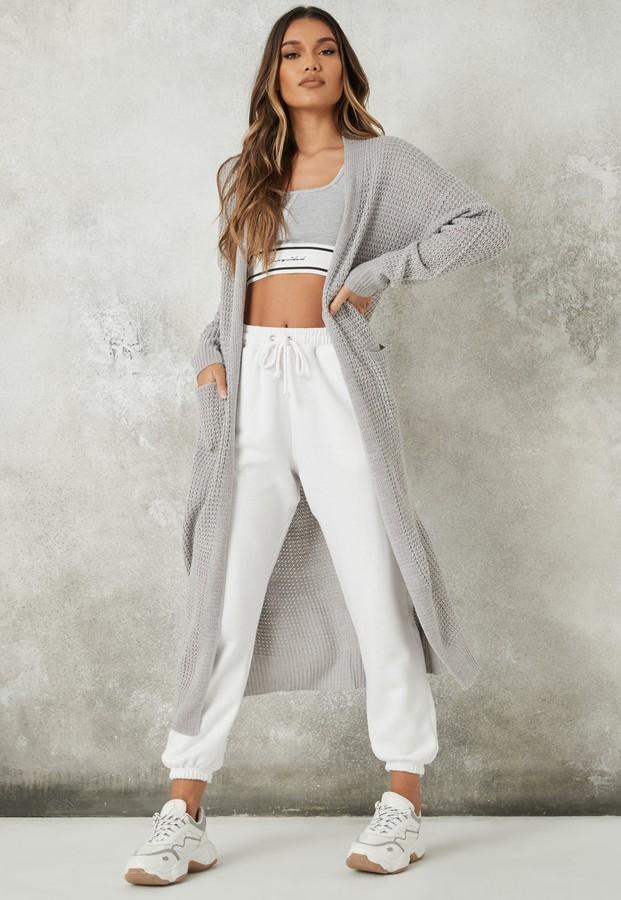 Missguided Grey Knit Maxi Cardigan
