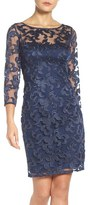 Aidan Mattox Women's Illusion Mesh Sheath Dress