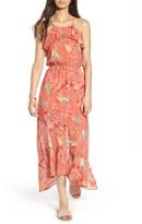 As U Wish As You Wish Print Ruffle High/Low Maxi Dress