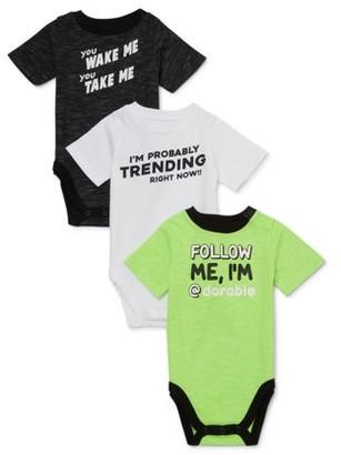 Garanimals Baby Boy Short Sleeve Graphic Bodysuit Multi-Pack, 3pc
