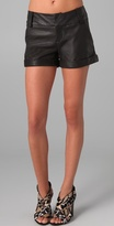 Alice + Olivia Cady Cuffed Leather Shorts